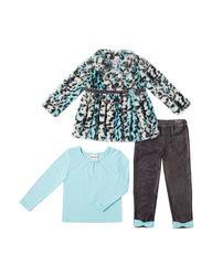 Little Lass Girls 3 Piece Fur Jacket & Leggings Set - Grey - Size: 3