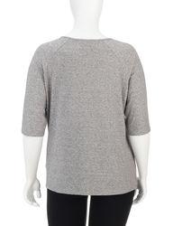 Hannah Women's Plus-sizes Grey & Metallic Accent Top - Grey - Size: 1X