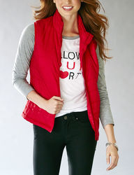 Just One L/S Raglan Top With Puffer Vest - Red - Size: Medium