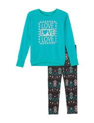 One Step Up Girls Kids 2-Pc Love Legging Set - Jade - Size: 10/12