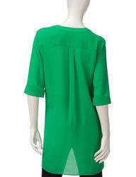 Valerie Stevens Women's Solid Color Hi-Lo Top - Green - Size: XL