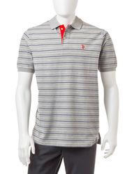 U S Polo Men's Feeder Striped Polo T-Shirt - Grey - Size: XXL