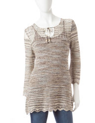 US Sweaters Women's Tie Neck Space Dye Sweater - Neutral - Size: X-Large