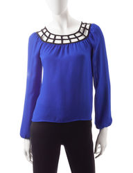 My Michelle Women's Contrasting Lattice Accent Top - Ivory - Size: XL
