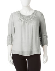 Hannah Women's Plus-size Pearl Accent Peasant Top - Grey - Size: 2X