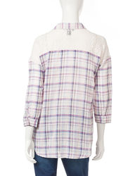 Bandolino Women's Alyssa Plaid Crochet Top - Purple - Size: M