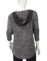 Silverwear Women's Space-Dye Deep Pleat Hooded Top - Grey - Size: M