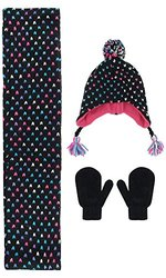 Capelli New York 3-Piece Hat Scarf and Glove Set Girls 4-16 Black Combo
