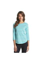 Jeanne Pierre Women's Striped Knit Sweater - Blue - Size: Large