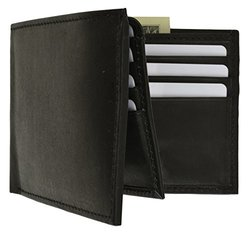 Afonie Men's Soft Leather Bifold Wallet with ID Window - Black