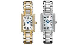 Bulova Women's Japanese Quartz Rectangle Bracelet Watch - Silver-Tone