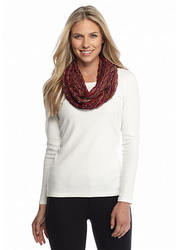 Collection 18 Women's Chevron Pleated Loop Scarf - Multi - Size: One Size
