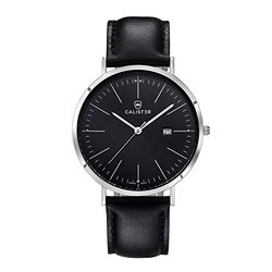 Calister BAUHAUS Luxury Swiss Watch: Silver & Black Dial