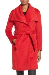 T Tahari Women's Mia Wool Blend Wrap Coat - Red - Size: 8