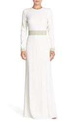 Rachel Zoe Women's Crystal Embellished Cutout Gown - White - Size: 10
