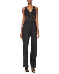 Catherine Malandrino Women's Sleeveless Jumpsuit - Black