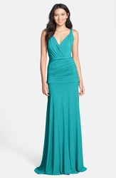 Halston Heritage Women's Ruched Jersey Gown - Deep Sea - Size: One