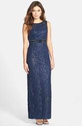 Sue Wong Women's Sequin Lace Cowl Back Gown - Blue - Size: 4