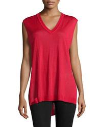 Catherine Malandrino Women's V Neck Sleeveless Sweater - R Red - Size: M
