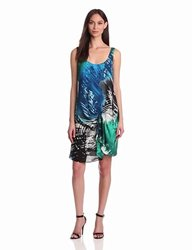 Halston Heritage Women's Silk Palm Print Dress - Aquamarine Palm - Size: 4