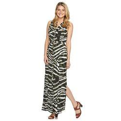 Sharagano Women's Animal-Striped Maxi Shirtdress - Olive