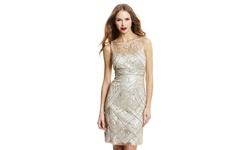 Sue Wong Cocktail Dress with Beaded Details - Champagne/Silver - Size: 14