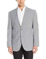 Adolfo Men's Check Modern Fit Sport Coat - Blue/Black/White - Size: 44R