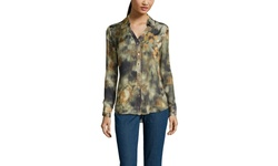 Donna Degnan Women's Long Sleeve Button Down Shirt - Green - Size: 8