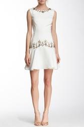 Marchesa Women's Beaded Trim Peplum Hem Dress - Ivory - Size: 10