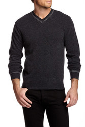 Slate & Stone Men's Owen V Neck Wool Blend Sweater - Black - Size: L