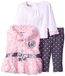 Little Lass Girls 3-Pc Fur Jacket & Leggings Set - Brown - Size: 12 month