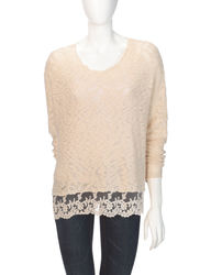 Signature Studio Women's Ivory Marled Knit Lace Trim Sweater - Beige / L