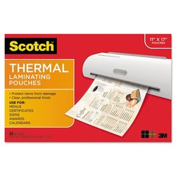 3M MMMTP385625 Thermal Lam Pouches, 3 Mil, 11.4 in. x 17.4 in., 25SH-PK, CL