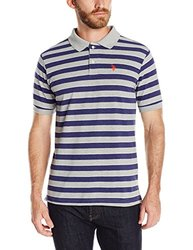 U.S. Polo Assn. Men's Striped Pique Polo Shirt - Heather Grey - Size: M