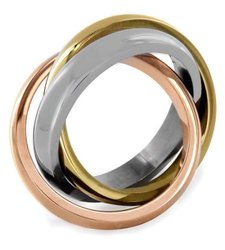 Women's Stainless Steel Polished Interlocked Wedding Band Ring -Tri-color