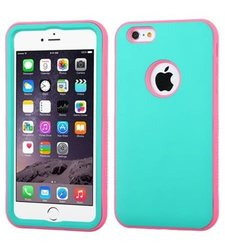 Insten Hybrid Rubberized Case For iPhone 6 Plus - Teal Green Pink