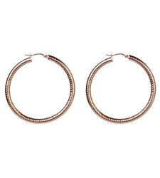 Women's Highly-polished Rose Gold-plated Stainless Steel Hoop Earrings