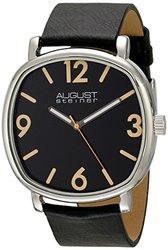 August Steiner Men's Leather Strap Watch: Black/Black (ASGP8139SSB)