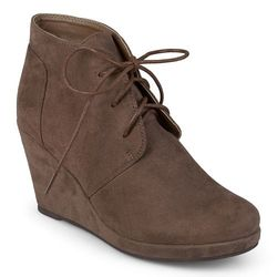 Journee Collection Women's Faux Suede Wedge Booties - Taupe - Size: 7.5