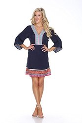 Gabrielle Embroidered Dress: Navy/large