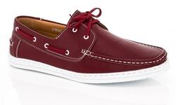 Franco Vanucci Men's Boat Shoes - Burgundy - Size: 10.5