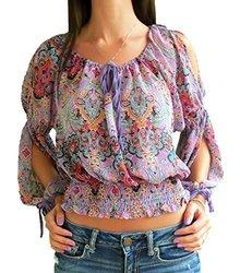 Cotton Express Juniors Chiffon Peasant Top - Purple/Teal - Size: Medium