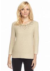 Ruby Rd. Petite Three-Quarter Sleeve Sweater - Ivy/Gold - Size: Medium