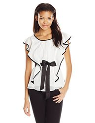 A. Byer Junior's Flutter Sleeve Top with Side Ruffles - Off White - Size: Small