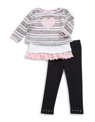 LITTLE LASS Baby Girls Two-Piece Heart Sweater And Leggings Set Black