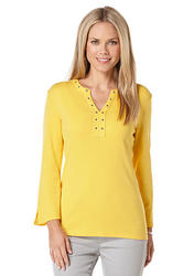 Rafaella Women's Grommet Embellished Knit Top - Yellow - Size: XL