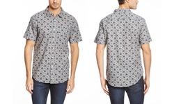 Jachs Men's Short Sleeve Cotton Button Up - Dark Grey - Size: M
