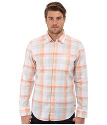 Calvin Klein Men's Translucent Plaid Woven Shirt - Orange Cloud - Size: Xl