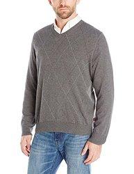 IZOD Men's Fine Gauge Raker V-Neck Sweater - Carbon Heather - Size: XL