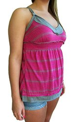 Liberty Love Junior's Stripe Babydoll Halter Tank Top - Fucshia - Size: S